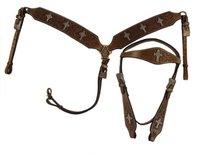 Western Headstall Breast Collar Set Copper Cross Studded Trail Barrel