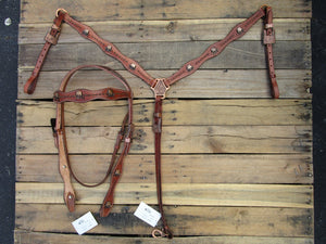 Copper Skull Trail Show Western Headstall Breast Collar Set