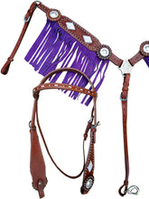 Western Headstall Breast Collar Set Purple Fringe Horse Leather Bridle