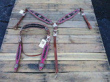 Headstall Breast Collar Pink Black Bling Leather Western Horse Bridle