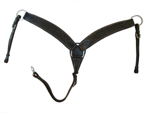 Western Breast Collar Horse Trail Roping Black Leather Floral Tooled