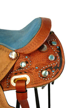 12 13 Turquoise Blue Pony Barrel Leather Youth Kids Western Saddle