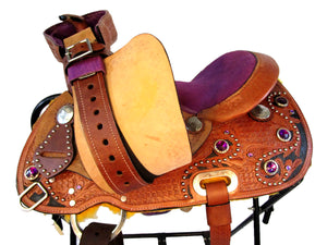 Kids Purple Western Saddle Youth Pony Child Barre Racing 12 13 Tack
