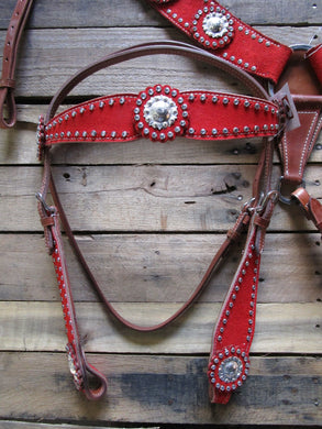 Western Headstall Breast Collar Red Silver Show Horse Leather Bridle