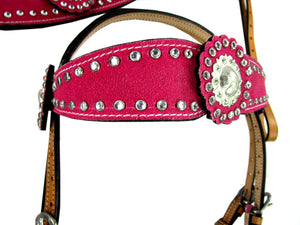 Pink Show Event Trail Western Headstall Breast Collar Set