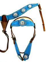 Show Event Trail Blue Western Headstall Breast Collar Set
