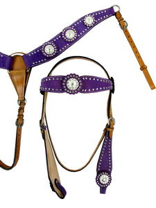 Purple Show Event Trail Western Headstall Breast Collar Set