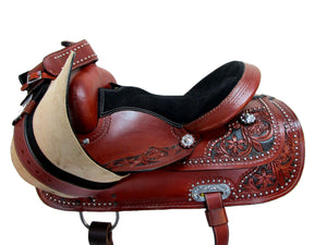 Western Saddle Trail Horse Barrel Racing 14 15 16 Tooled Leather Tack