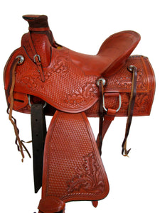 Western Saddle Roping Wade Basket Weave Tooled Ranch Horse 15 16 17