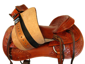 Western Roping Saddle 16 17 Tooled Leather Hard Seat Ranch Working
