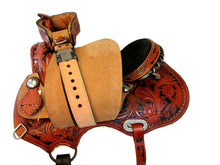 15 16 Western Trail Barrel Saddle Show Black Tooled Leather