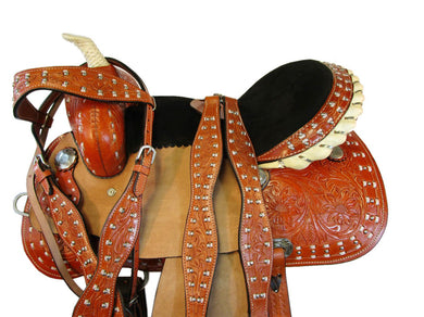 Barrel Racing Western Saddle Trail Pleasure Tooled Leather Tack 15 16