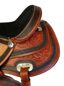 Trail Saddle Western Barrel Racing Horse Tooled Leather 15 16 17 18 set