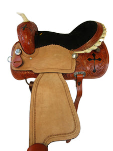 Barrel Racing Western Trail Saddle Cross Tooled Pleasure Tack 16 15