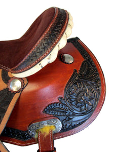 Western Barrel Racing Saddle Trail Horse Brown Tooled Show Tack 15 16