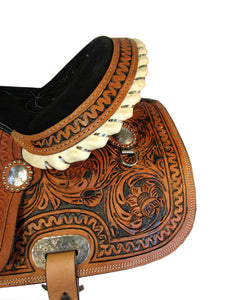 15 16 Tooled Black Painted Cowboy Barrel Racing Trail Western Saddle