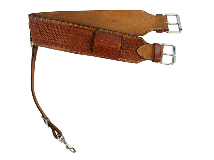 Back Cinch Basket Weave Tooled Leather Rear Cinches Western Horse Girth