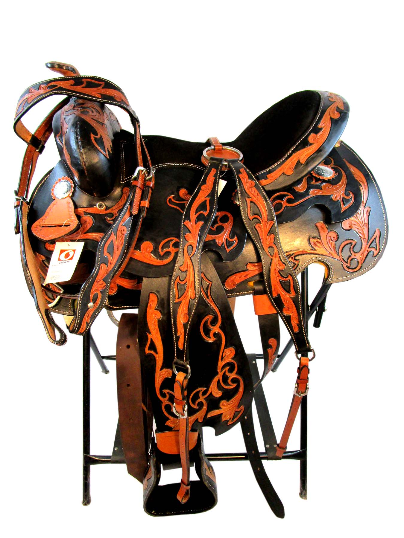 14 15 16 Tooled Leather Trail Show Black Western Saddle Tack Set Saddle Online Shop