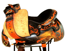 14 15 16 Tooled Leather Trail Show Black Western Saddle Tack Set