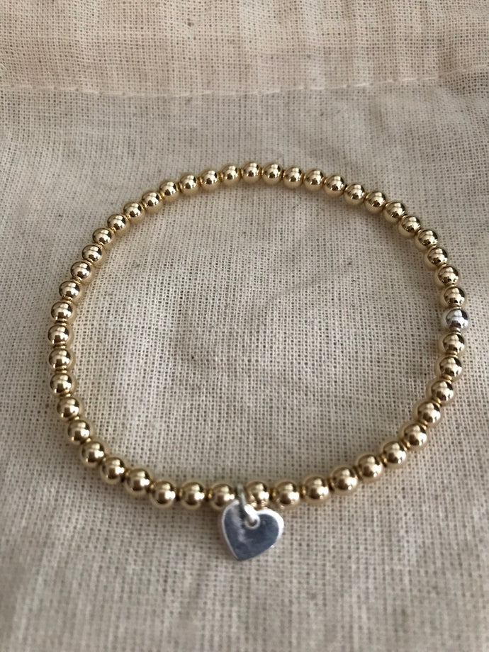 Gold Filled bracelet with tiny heart - 4mm