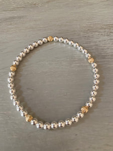 Sterling silver bracelet with corrugated gold filled beads