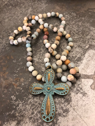 Amazonite beaded necklace with cross