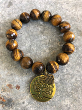 Tiger eye beads with gold tree of life charm