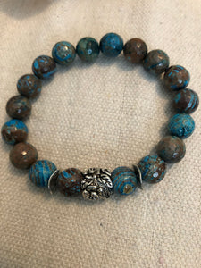 Brown Turquoise beads with silver