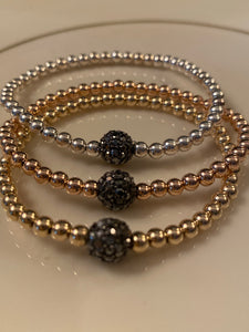 Gold, Rose gold or Sterling silver beaded bracelet with Hematite round ball