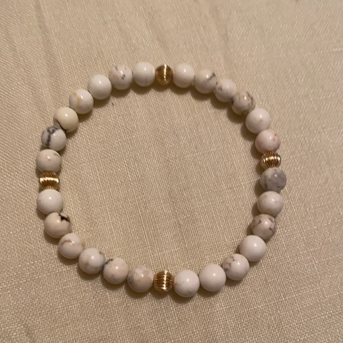White turquoise with gold filled beaded bracelet