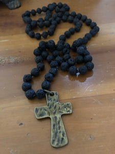 Black Lava knotted necklace