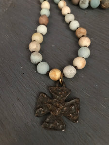 Matte amazonite beaded necklace w/cross