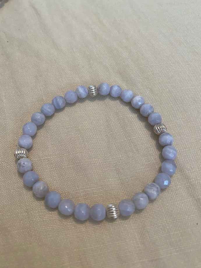 Blue Lace agate bracelet with sterling silver beads
