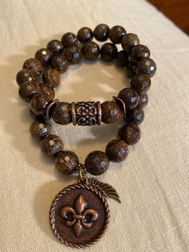 Sale:  bronzite bracelet with antique copper charms -10mm