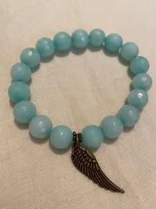 Aqua Jade with antique gold angel wing