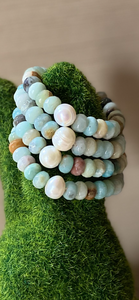 Amazonite with freshwater pearl bracelet
