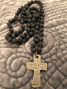 Black Lava beaded necklace with cross