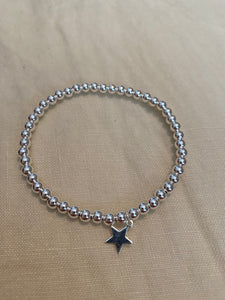 4mm Sterling Silver Bracelet with Sterling Silver Star Charm