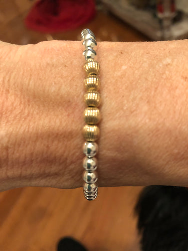 Corrugated gold filled beads and sterling silver bracelet