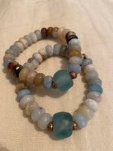 Amazonite bracelet with seaglass stone and bronze pearl