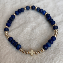 Gemstone bracelets with 14k gold filled cross