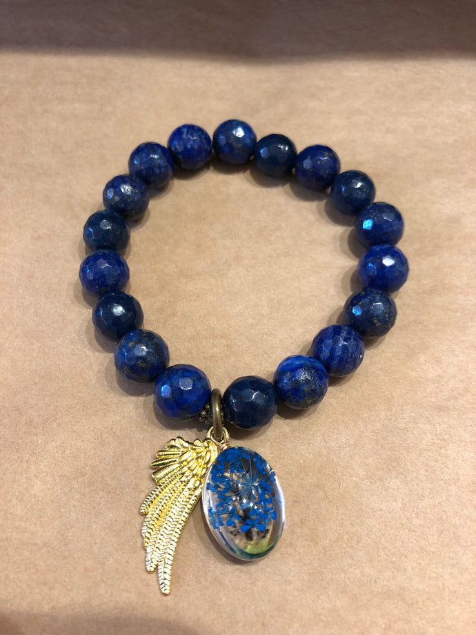 Lapis faceted bracelet with Press Flower charm - 10mm