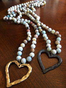 Amazonite hand knotted beaded necklace with heart