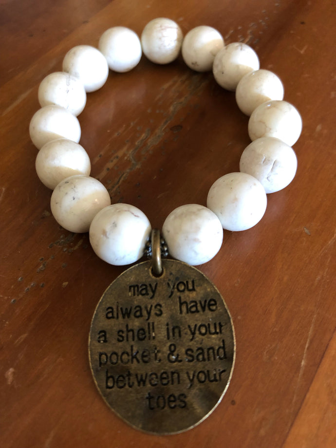 12mm white turquoise beads with beach charm