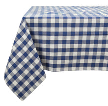 "Blue gingham cotton tablecloth 60""X120"" 