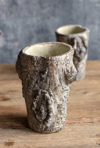Faux Bois Trunk Vase | Table Terrain January tablescapes, men's table decorations, kitchen table arrangements