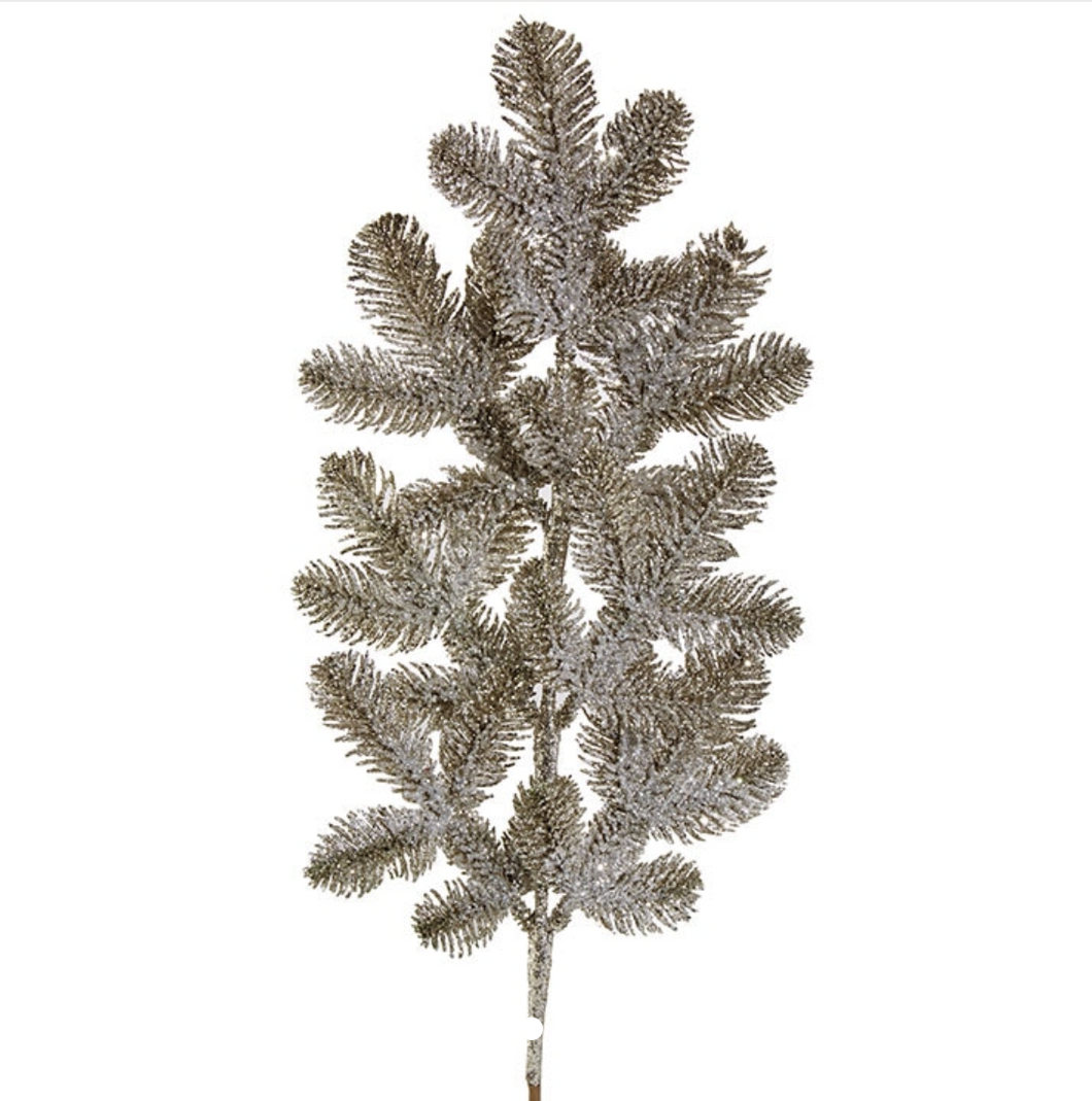 Glittered Pine Spray | Table Terrain January tablescapes, men's table decorations, kitchen table arrangements