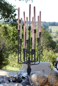 Black Iron and Wood Candelabra | Table Terrain winter table centerpieces, simple candle centerpieces, inexpensive table centerpieces