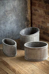 Planters, Ribbed Galvanized (Set of 3)
