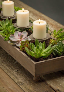 Weathered Candle and Centerpiece Planter | Table Terrain winter table centerpieces, simple candle centerpieces, inexpensive table centerpieces